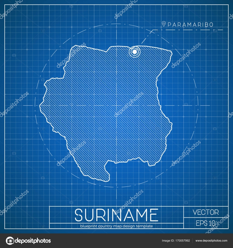 Suriname blueprint map template with capital city paramaribo marked suriname blueprint map template with capital city paramaribo marked on blueprint surinamer map stock vector malvernweather Images