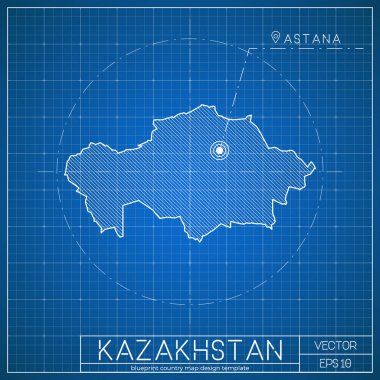 Kazakhstan blueprint map template with capital city Astana marked on blueprint Kazakhstani map