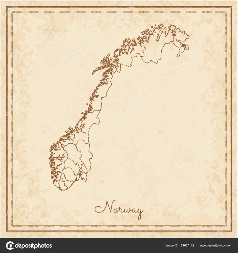 Norwegen Region Karte Stilyzed alten Piraten Pergament Nachahmung ...