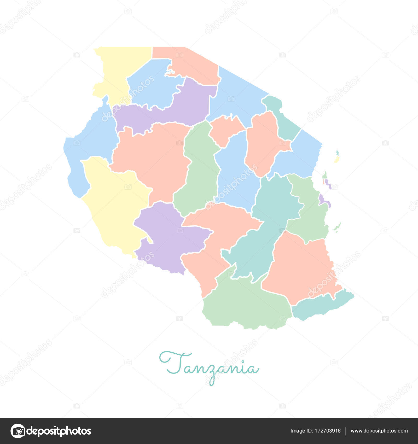Tanzania region map colorful with white outline Detailed map of