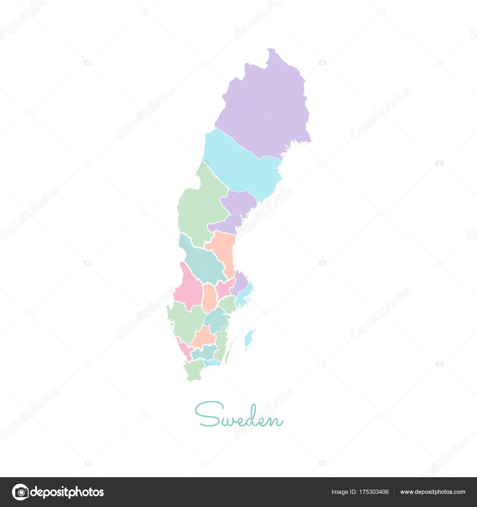 Schweden Karte Regionen.Schweden Karte Bunt Mit Weissen Umriss Detaillierte Karte Von