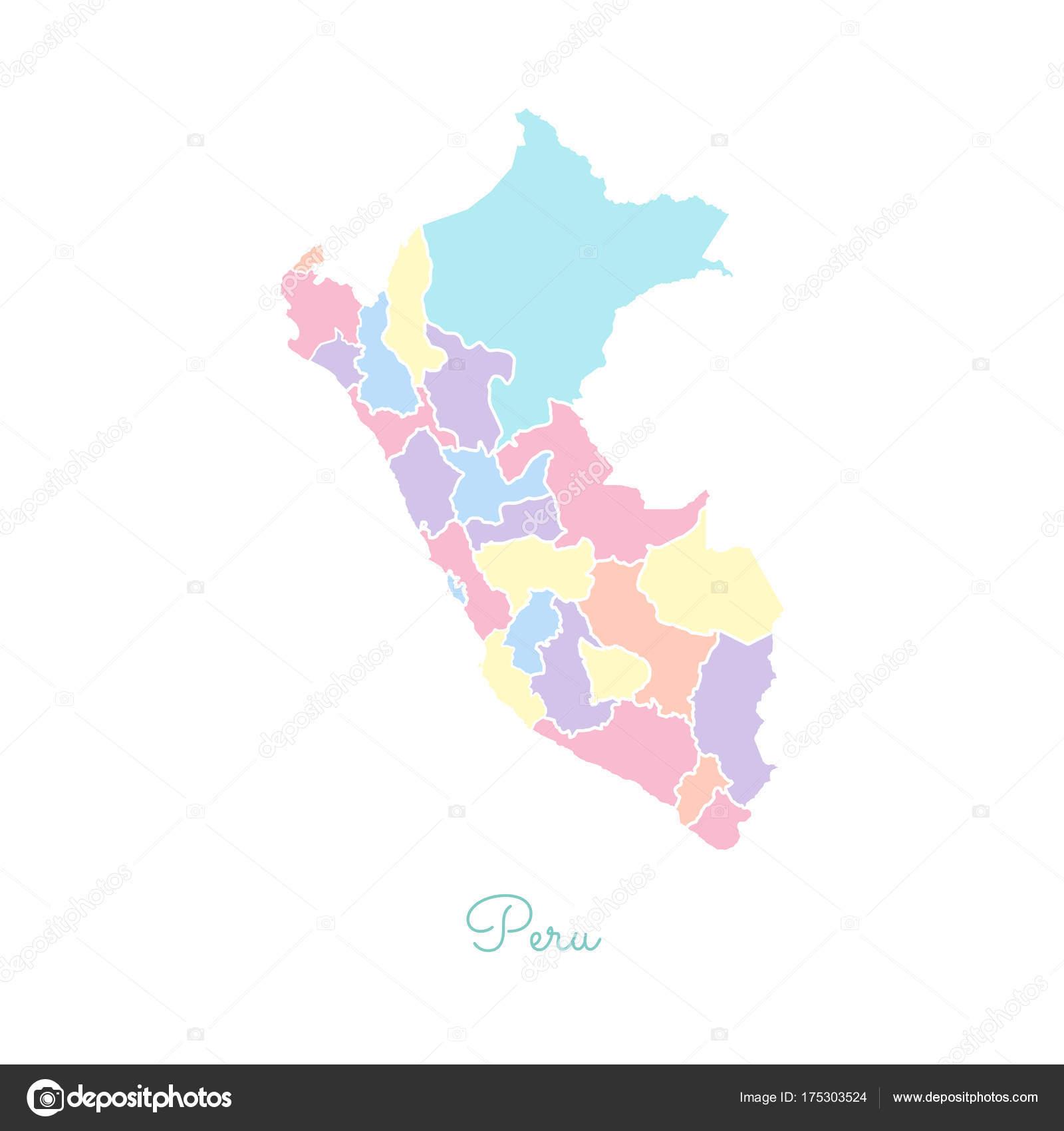 Peru Karte Umriss.Peru Region Karte Bunt Mit Weissen Umriss Detaillierte Karte