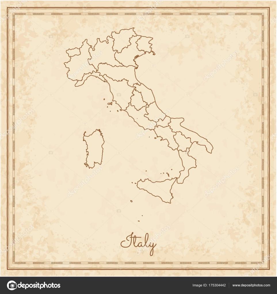 Karte Italien Regionen.Italien Region Karte Stilyzed Alten Piraten Pergament Nachahmung