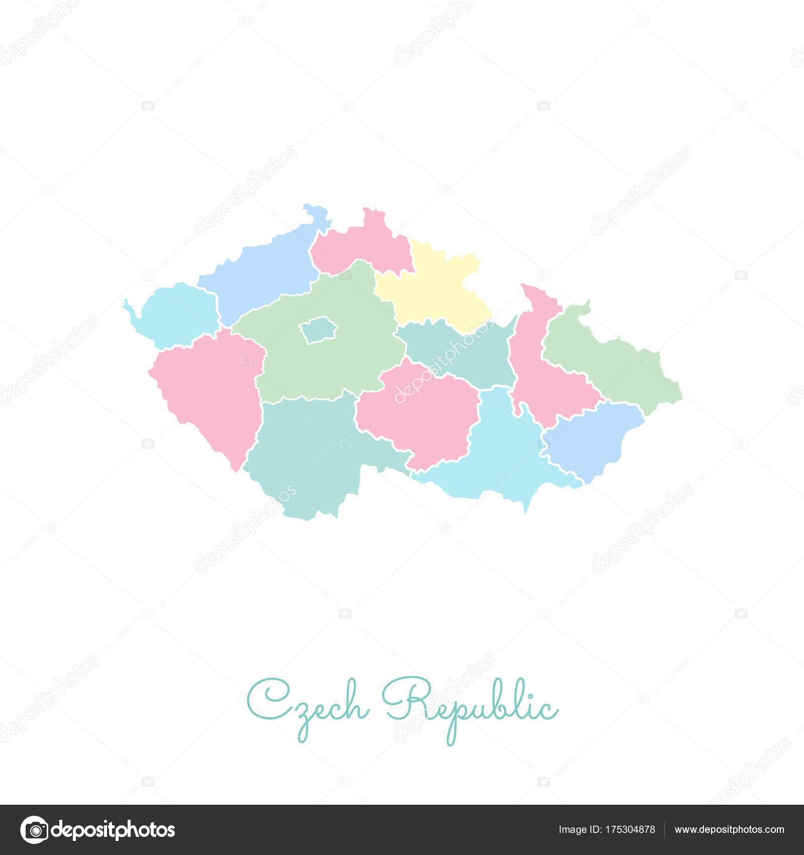 Karte Tschechien.Tschechien Region Karte Bunt Mit Weißen Umriss Detaillierte Karte