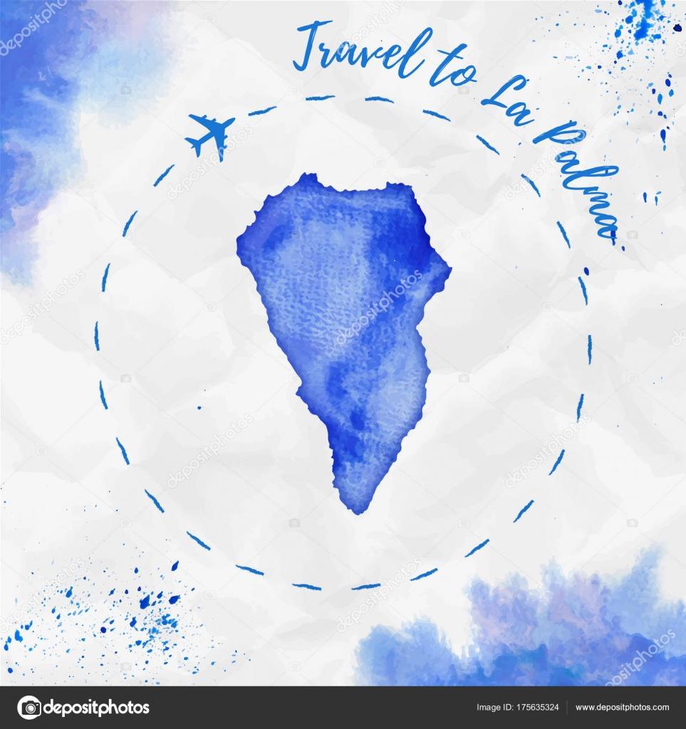 La Palma watercolor island map in blue colors Travel to La Palma ...