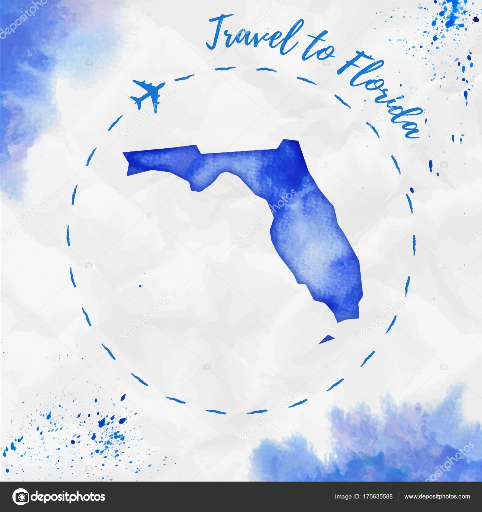 Florida Watercolor Us State Map In Blue Colors Travel To Florida