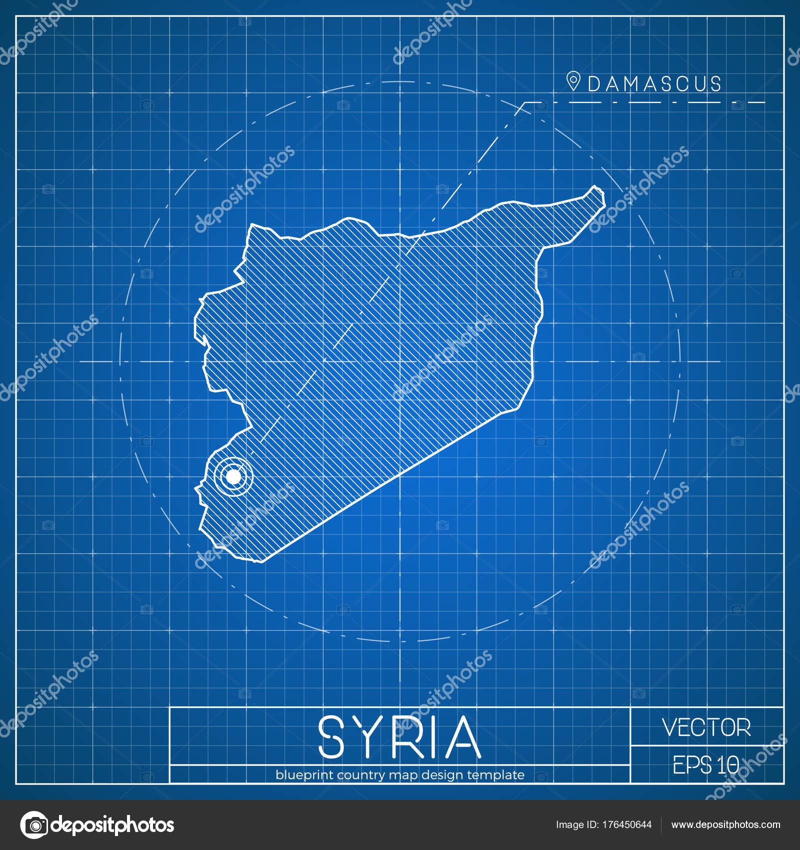Syria Blueprint Map Template With Capital City Damascus Marked On Syrian Vector Stock