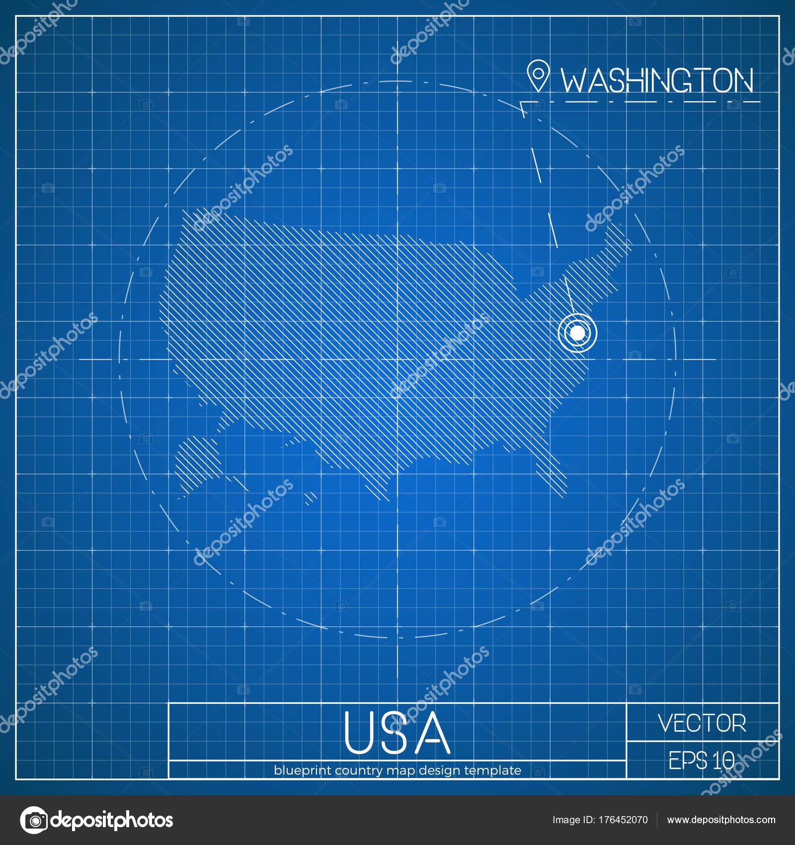 USA-Blaupause Kartenvorlage mit der Hauptstadt Washington auf ...