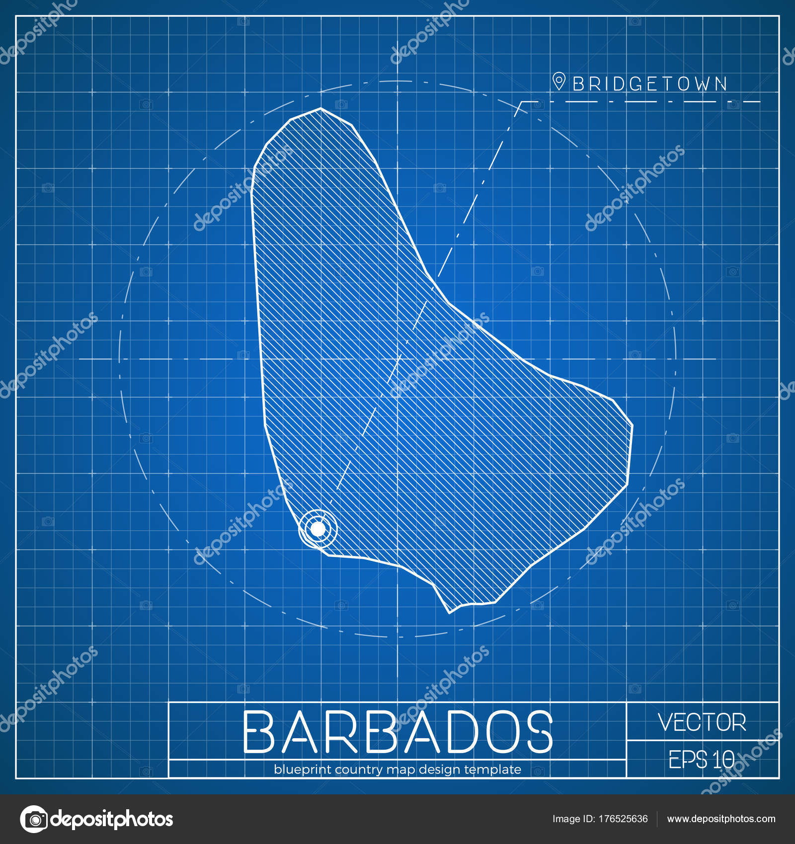 Barbados blueprint map template with capital city bridgetown marked barbados blueprint map template with capital city bridgetown marked on blueprint barbadian map stock vector malvernweather Images
