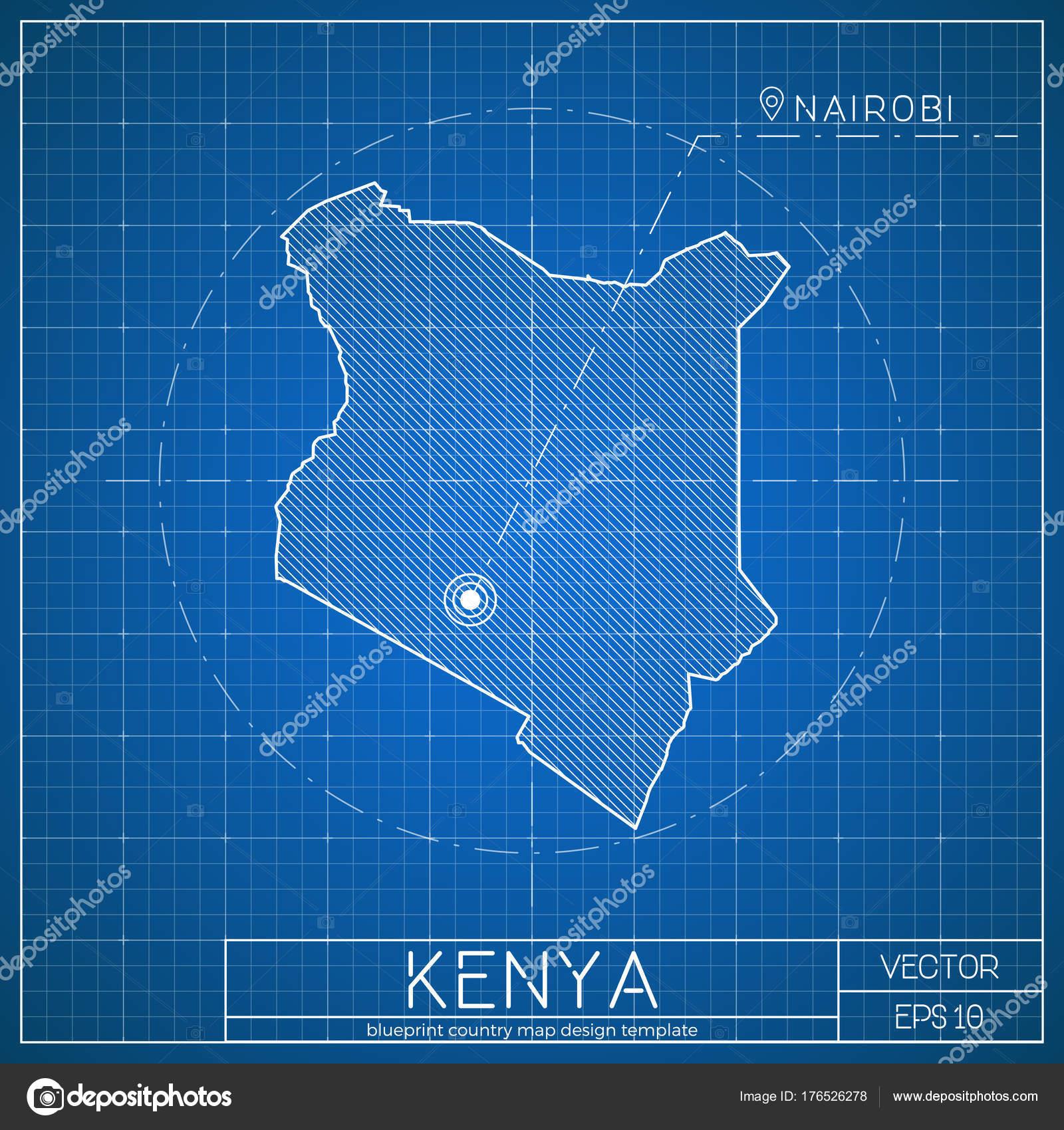 Plantilla de mapa plan de Kenia con la ciudad capital que Nairobi ...