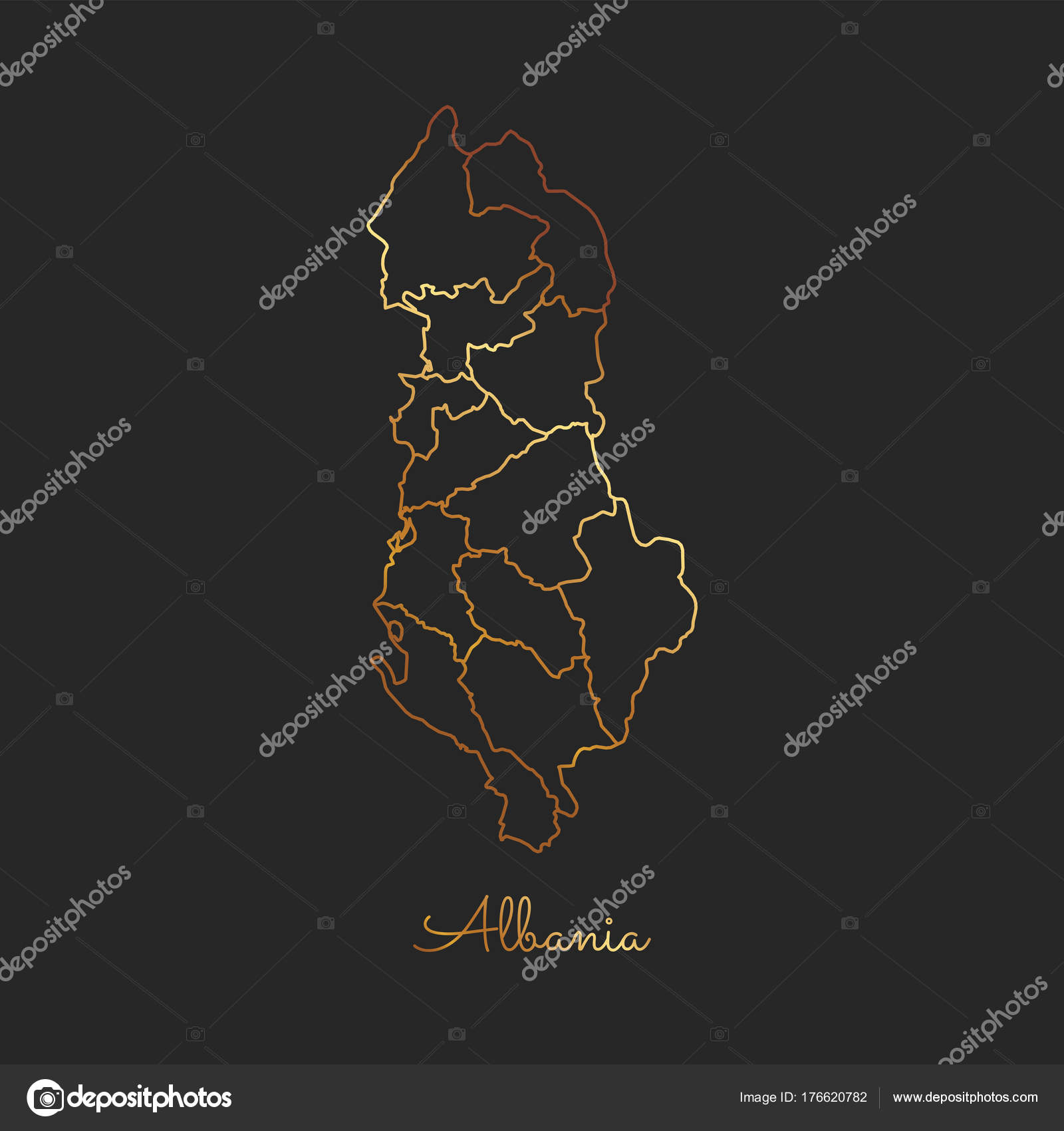 Albania region map golden gradient outline on dark background albania region map golden gradient outline on dark background detailed map of albania regions stock publicscrutiny Choice Image