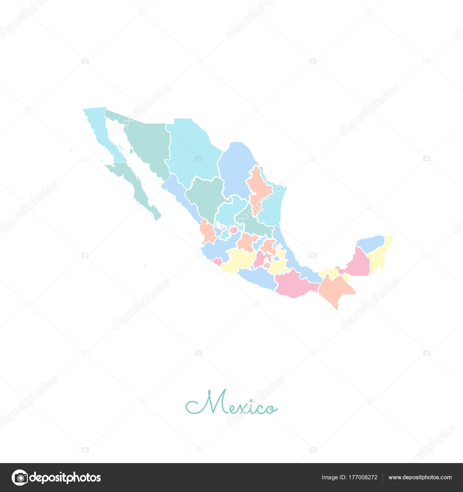 Mexico region map colorful with white outline Detailed map of Mexico ...