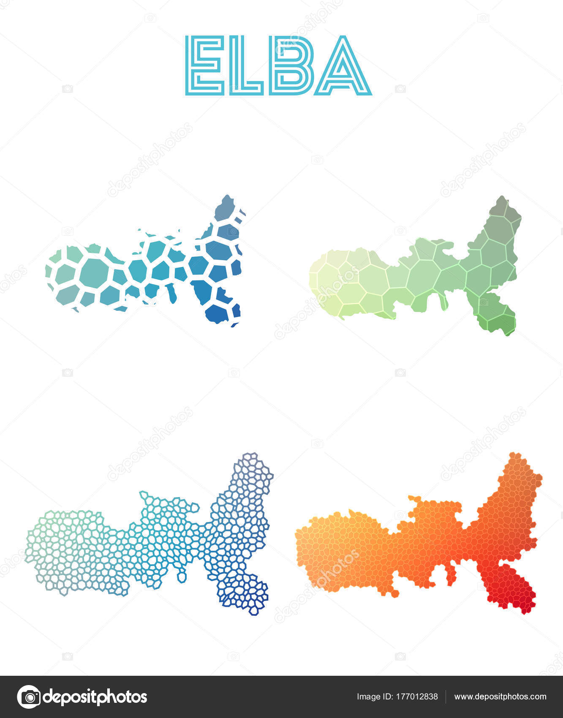 Insel Elba Karte.Karte Mosaik Stil Der Polygonalen Insel Elba Karten Sammlung Helle