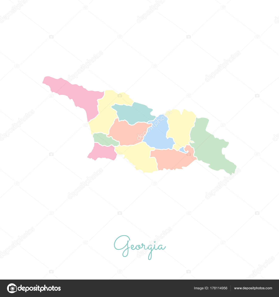 Georgien Karte Regionen.Georgien Regionalkarte Bunt Mit Weißen Umriss Detaillierte Karte Von