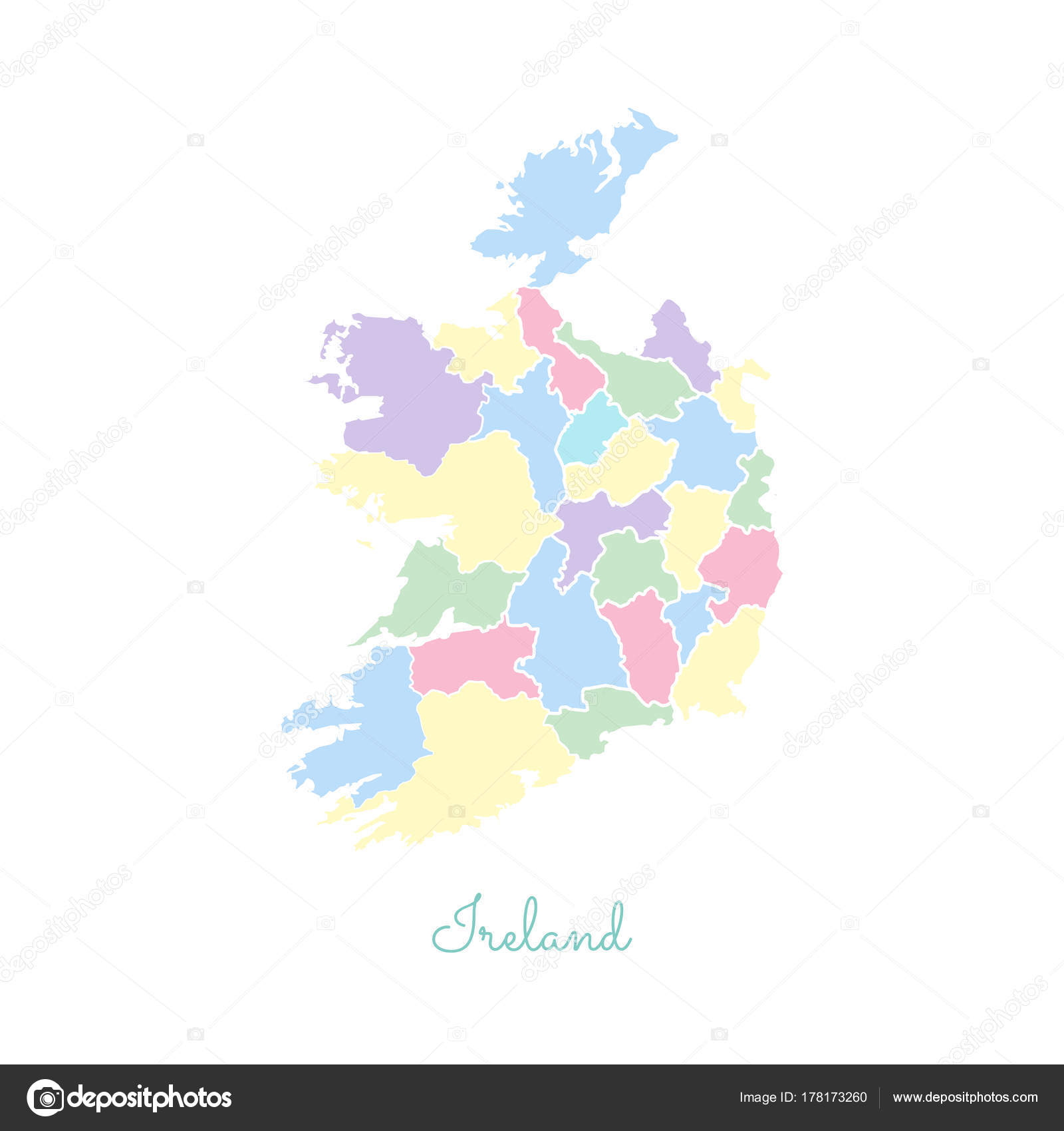 Detailed Map Of Ireland Vector.Ireland Region Map Colorful With White Outline Detailed Map Of