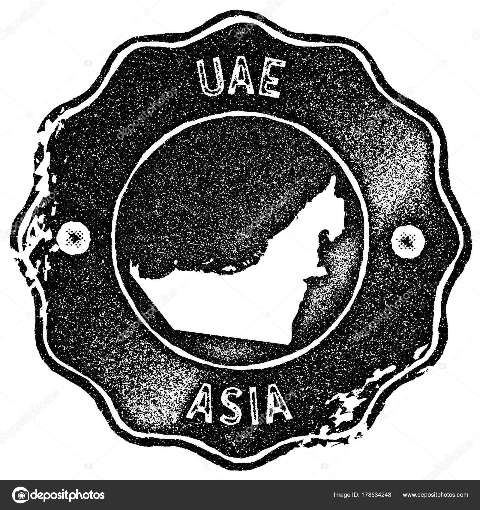 uae map vintage stamp retro style handmade label badge or element for travel souvenirs black