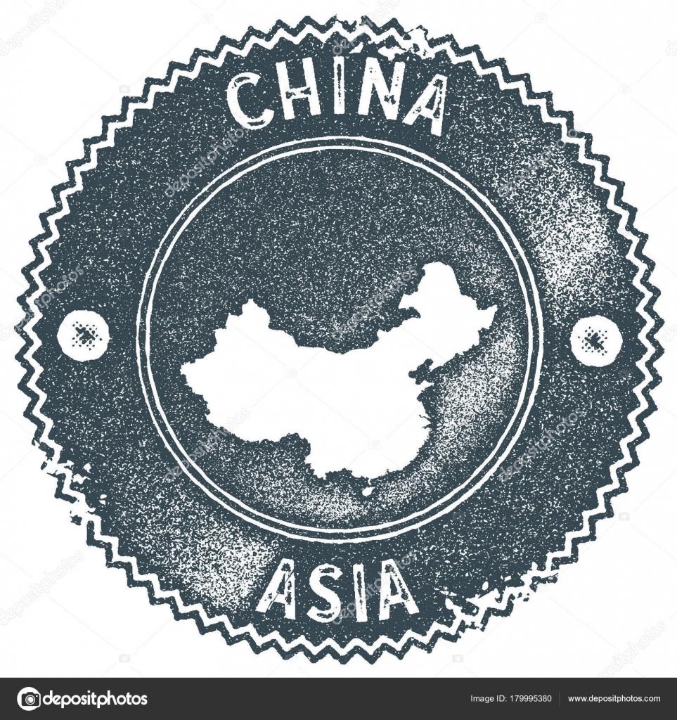 Vintage razítko mapa Čína Retro styl ruční popisek odznak nebo ... 66b9c78c05