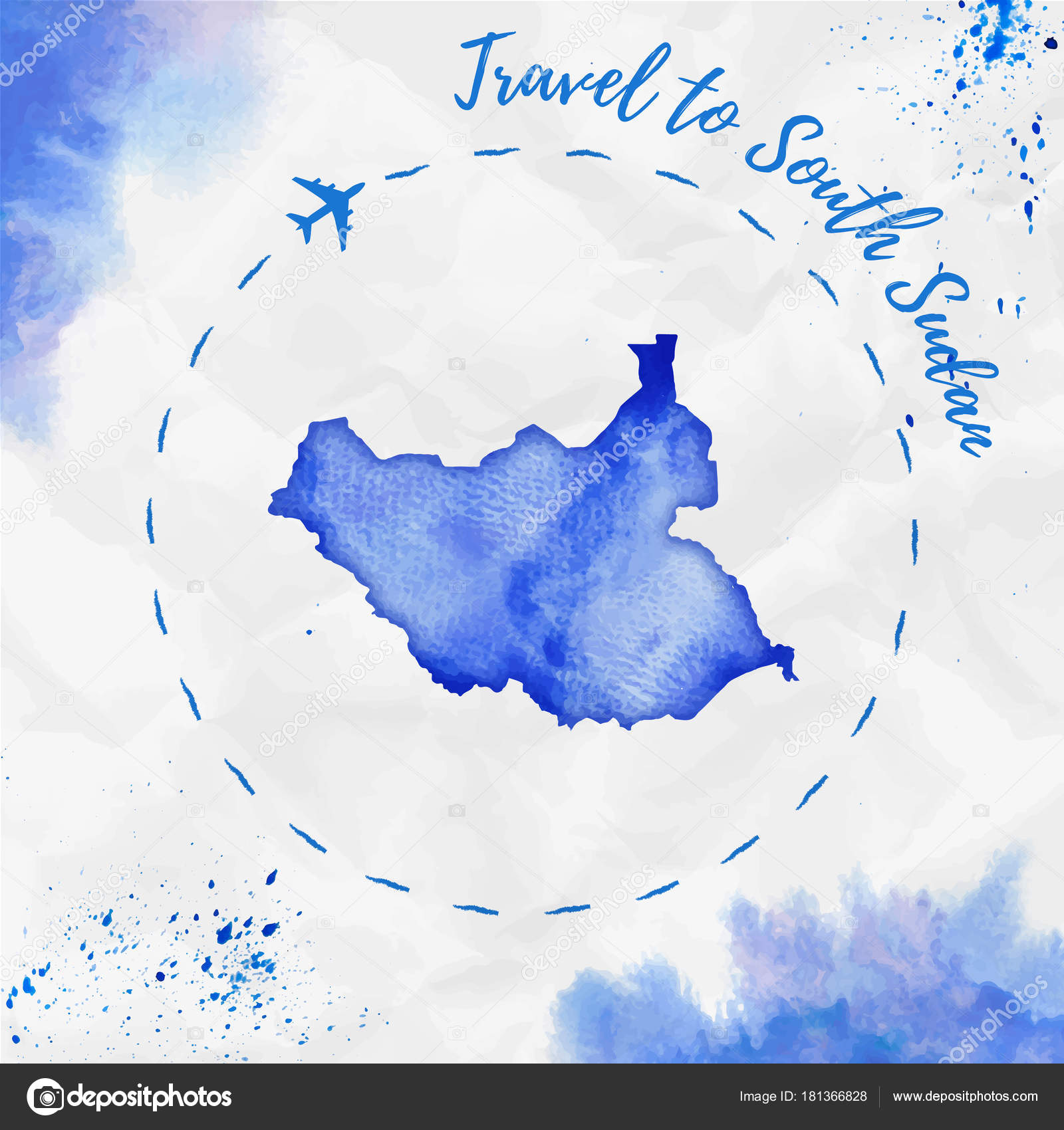 South sudan watercolor map in blue colors travel to south sudan south sudan watercolor map in blue colors travel to south sudan poster with airplane trace and handpainted watercolor south sudan map on crumpled paper gumiabroncs Image collections