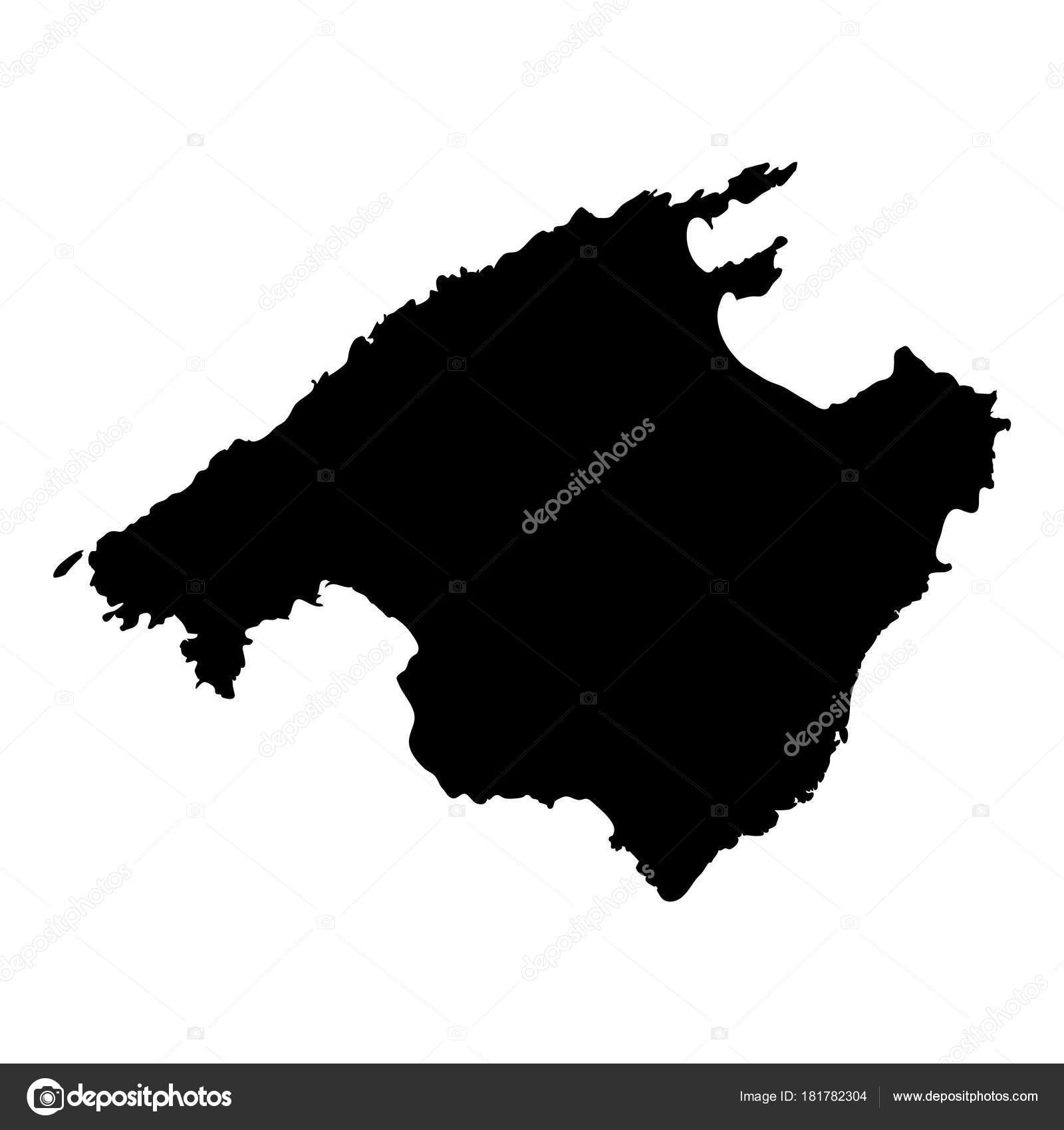 Mallorca Karte Umriss.Mallorca Karte Insel Silhouette Symbol Isoliert Mallorca