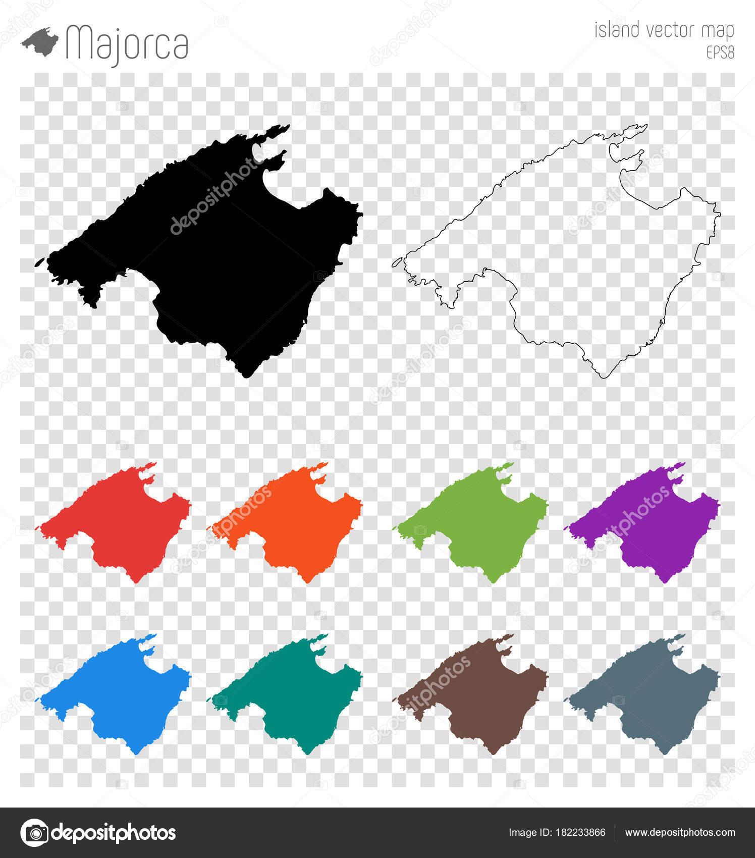 Mallorca Karte Umriss.Mallorca Hoch Detaillierte Karte Insel Silhouette Symbol