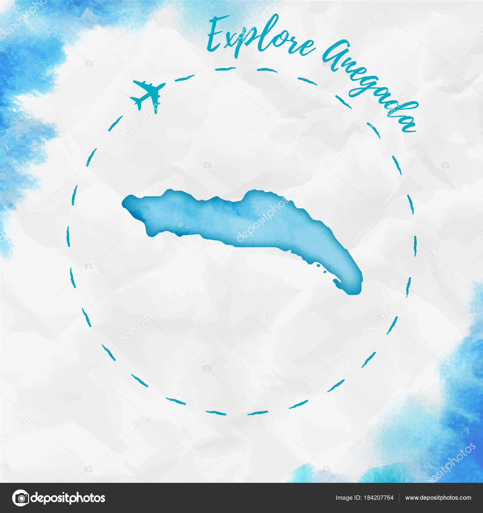 Anegada watercolor island map in turquoise colors Explore Anegada