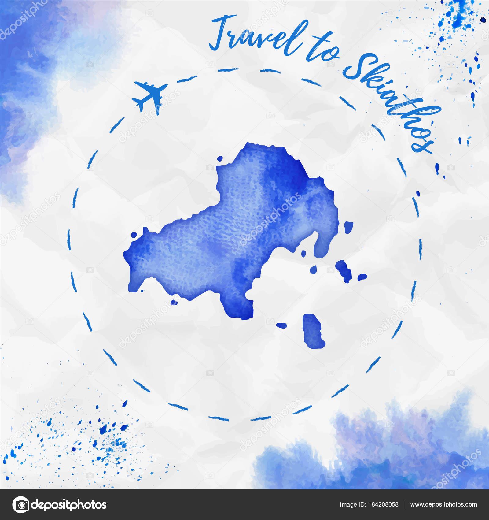 Skiathos watercolor island map in blue colors Travel to Skiathos
