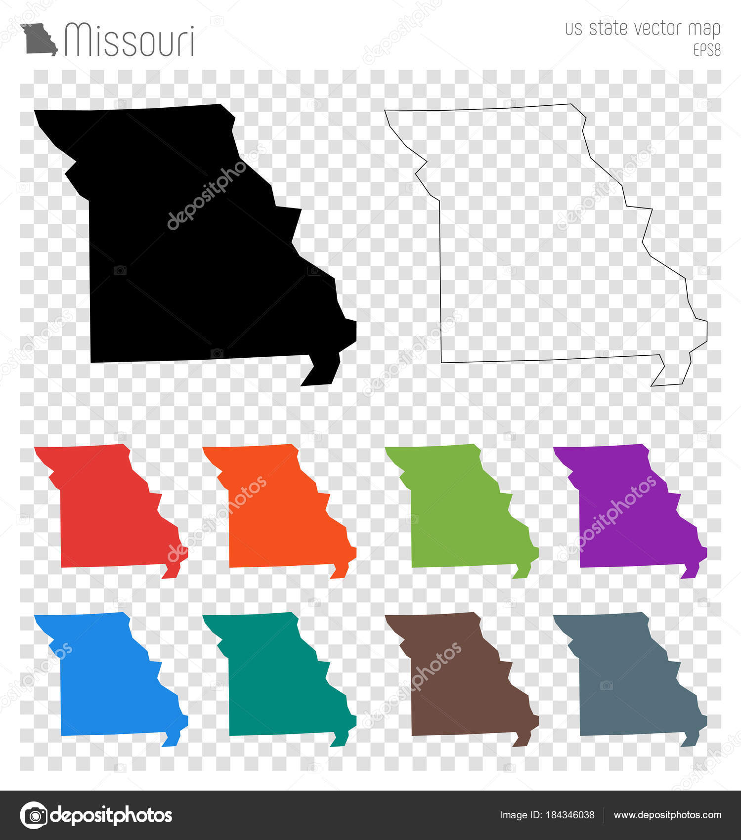 Missouri high detailed map Us state silhouette icon Isolated ...
