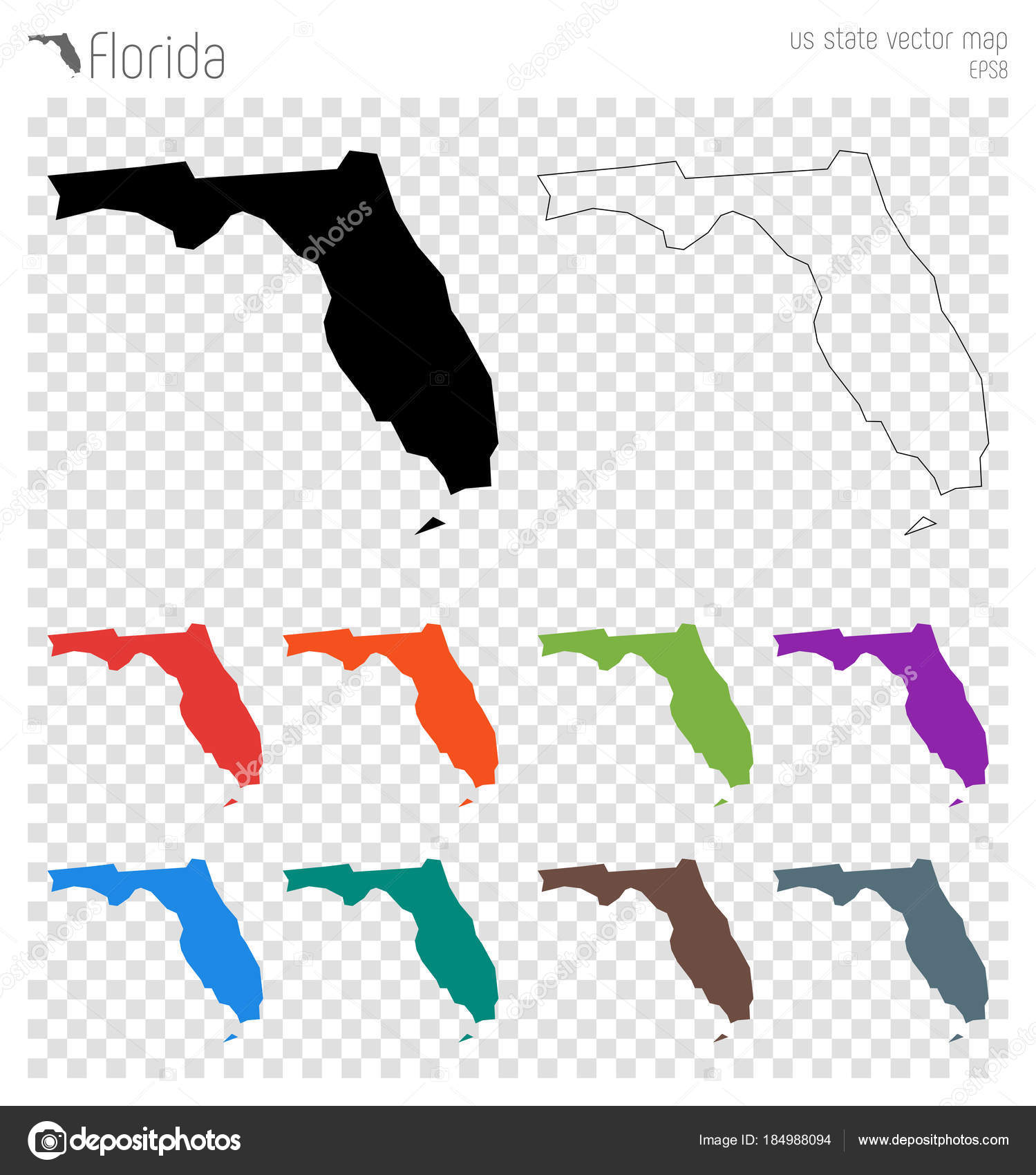Florida high detailed map Us state silhouette icon Isolated Florida ...