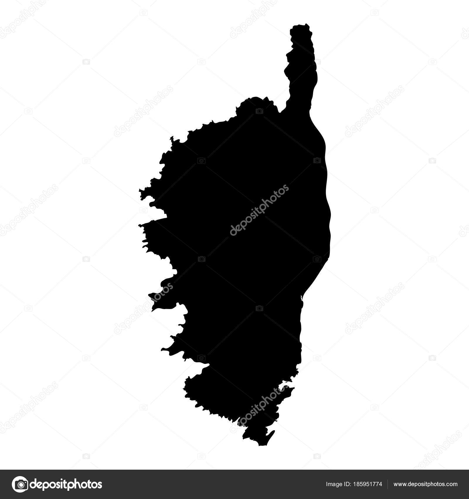 Carte Corse Noir Et Blanc.Carte De Corse Ile Silhouette Icone Isole Corse Carte Noir