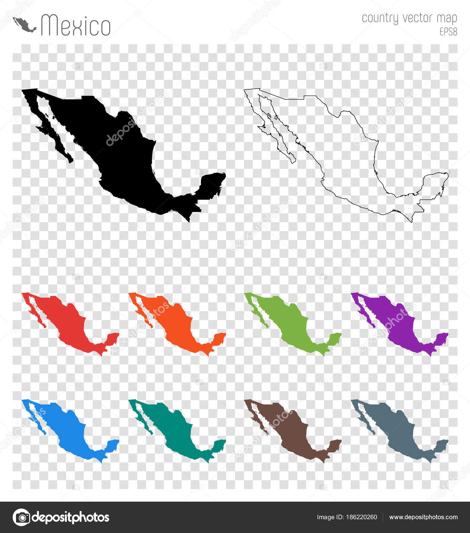Mexiko Karte Umriss.Mexiko Hoch Detaillierte Karte Land Silhouette Symbol