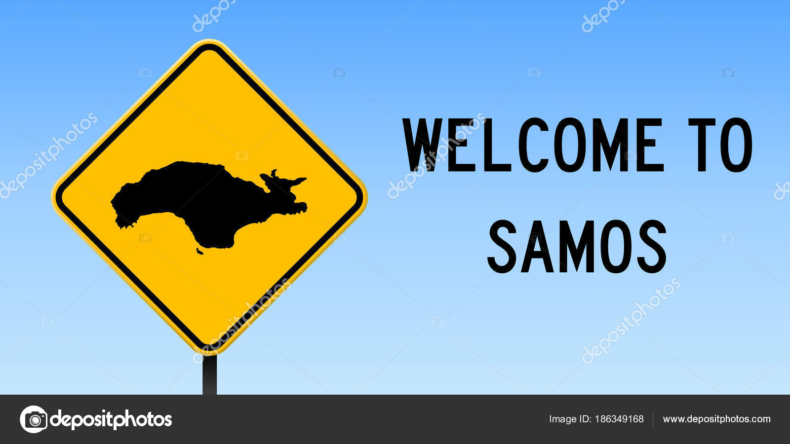 Samos map on road sign Wide poster with Samos island map on yellow