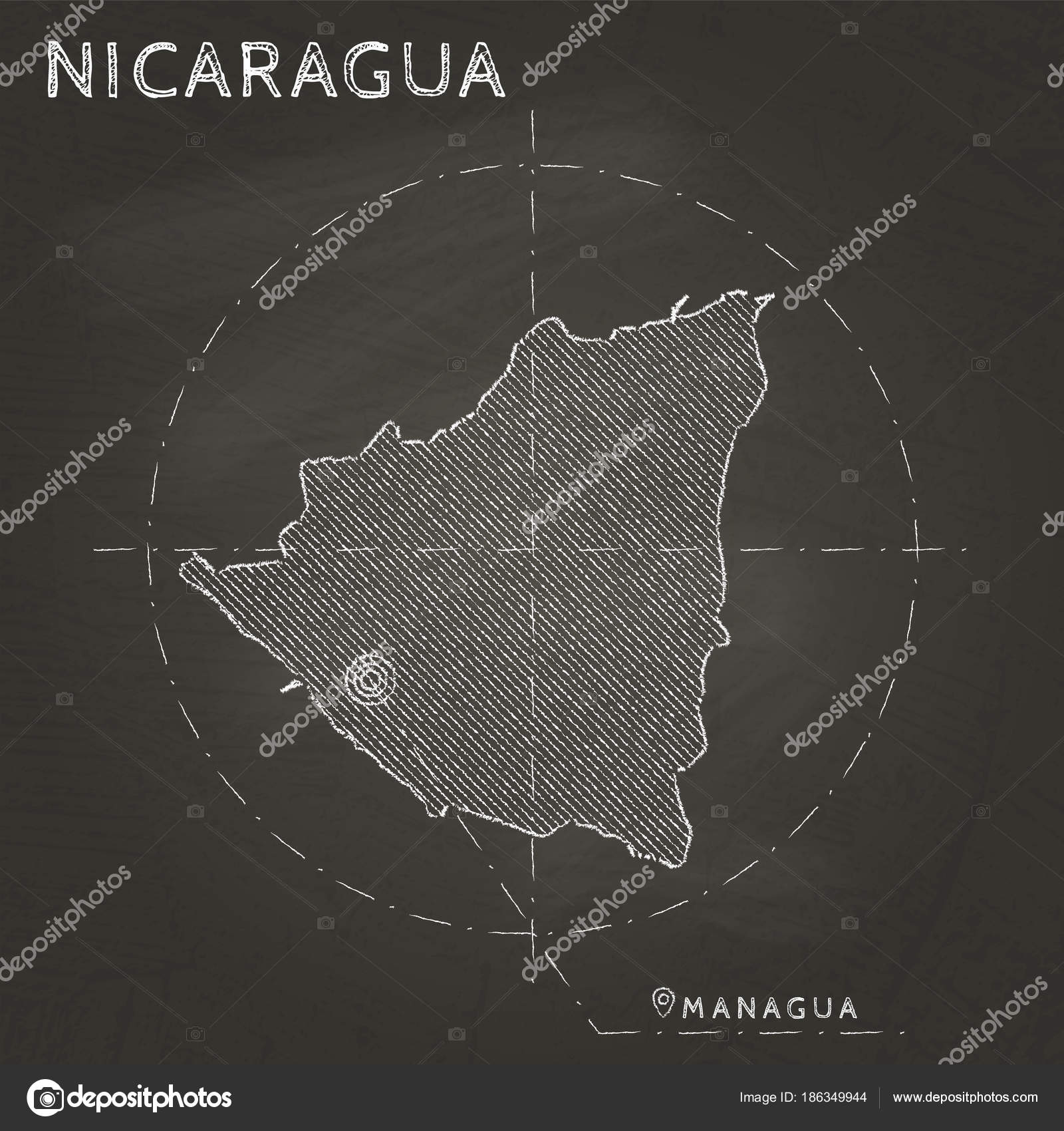 Nicaragua chalk map with capital marked hand drawn on textured ...