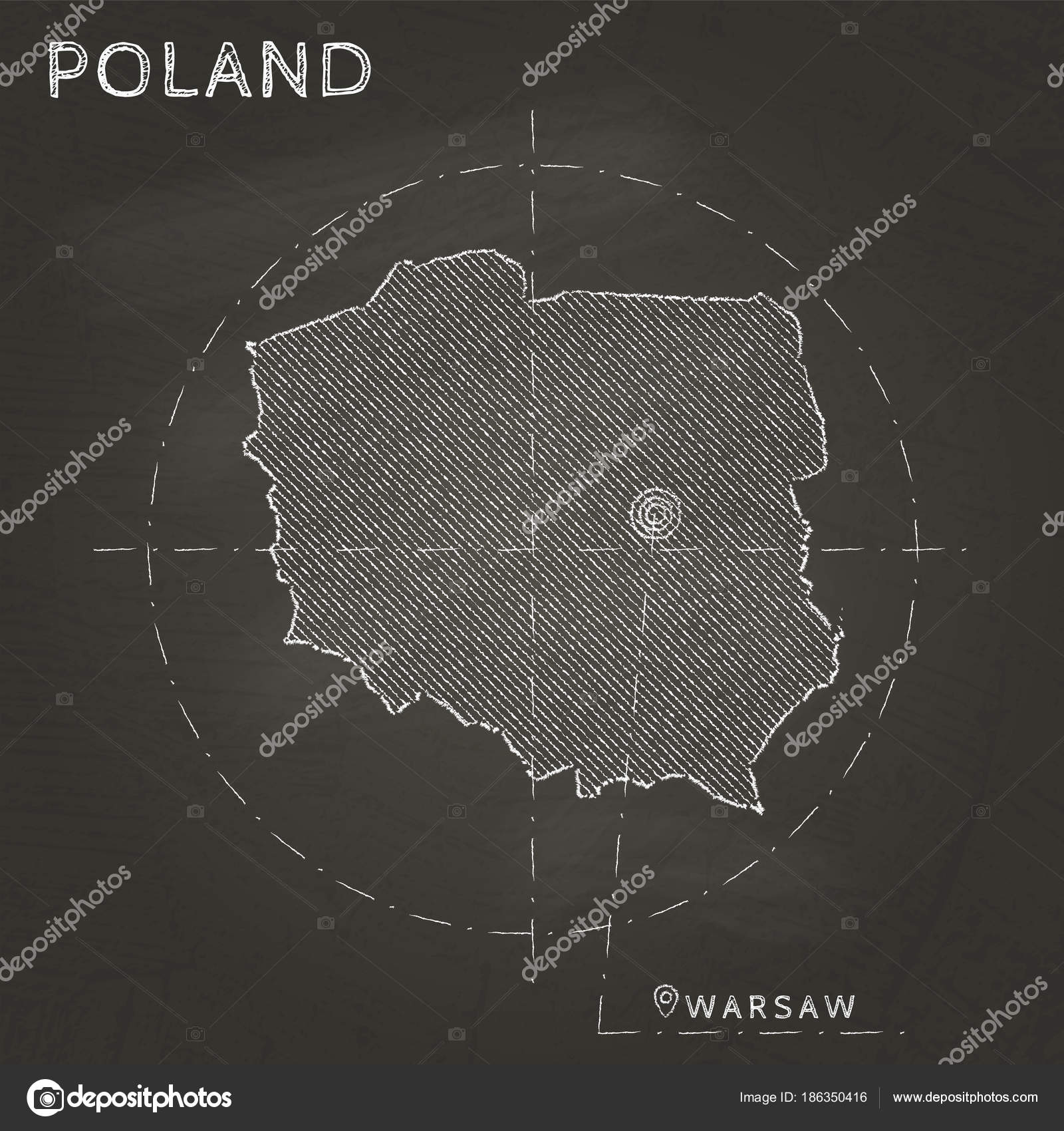 Capital Of Poland Map.Poland Chalk Map With Capital Marked Hand Drawn On Textured School