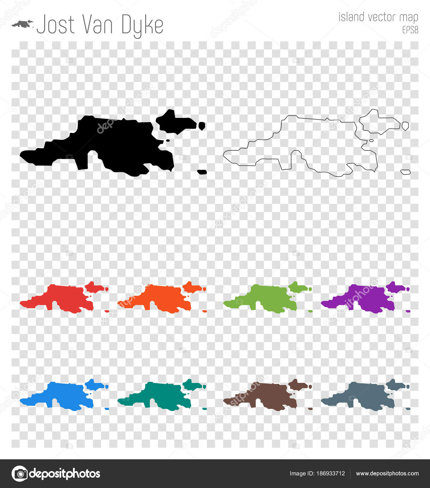 Jost Van Dyke high detailed map Island silhouette icon Isolated Jost