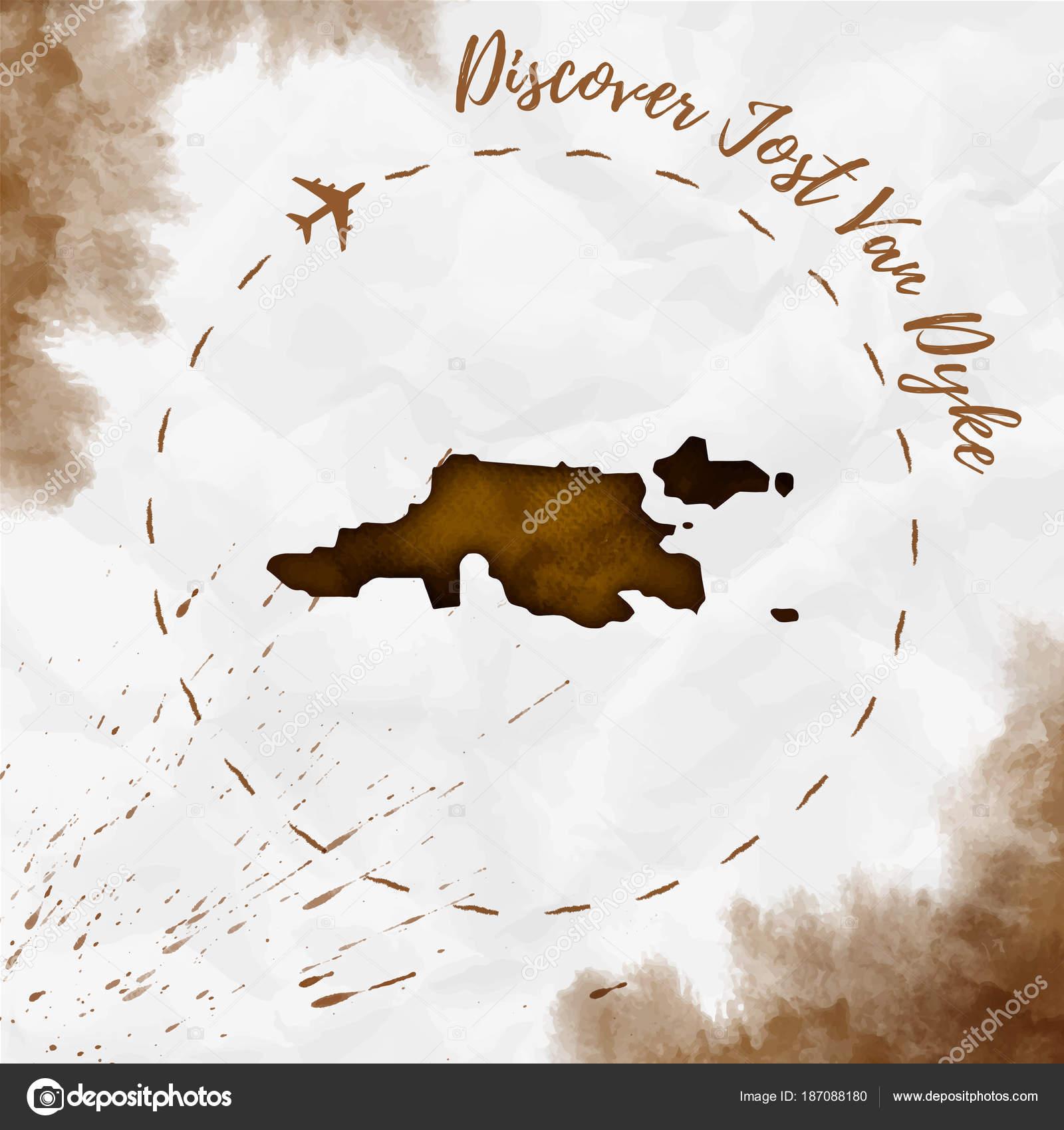 Jost Van Dyke watercolor island map in sepia colors Discover Jost