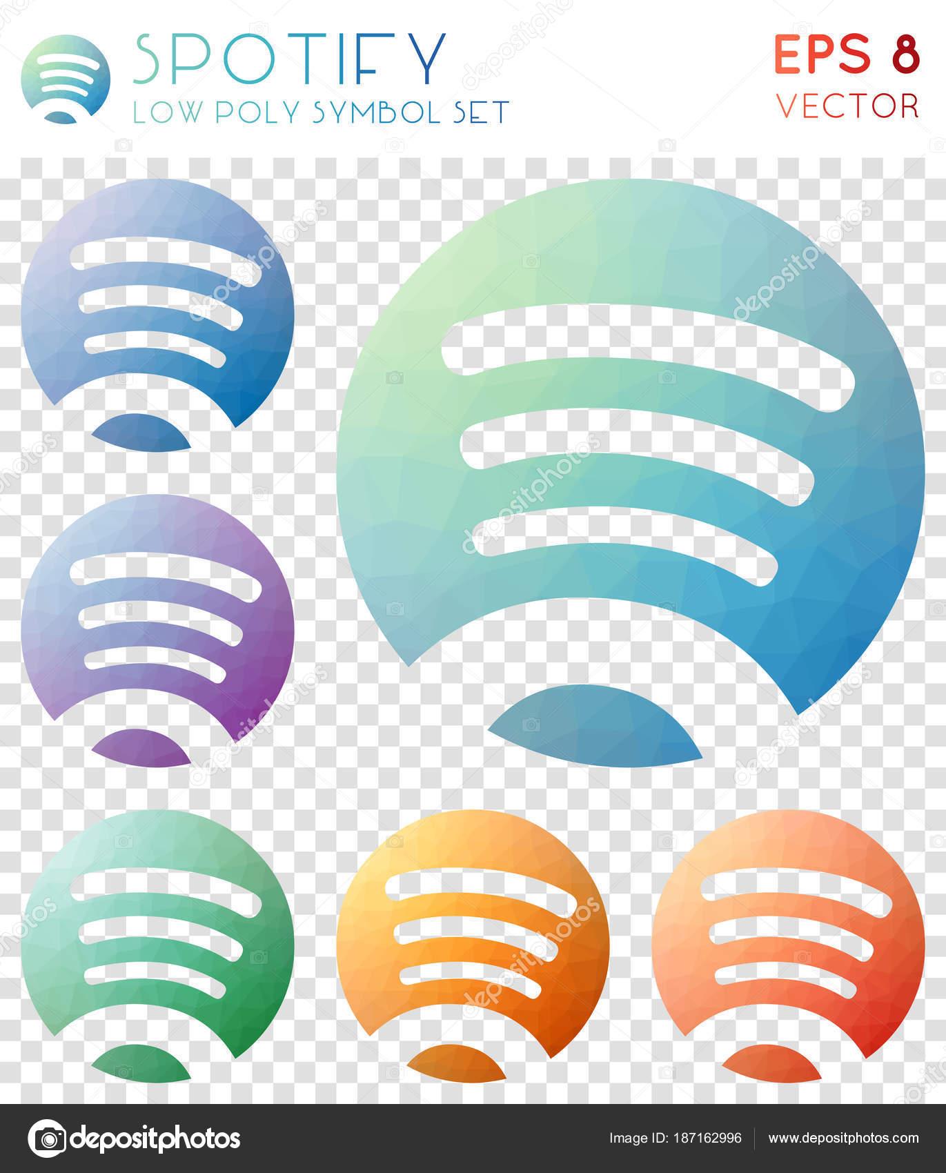 Spotify Geometric Polygonal Icons Bizarre Mosaic Style Symbol