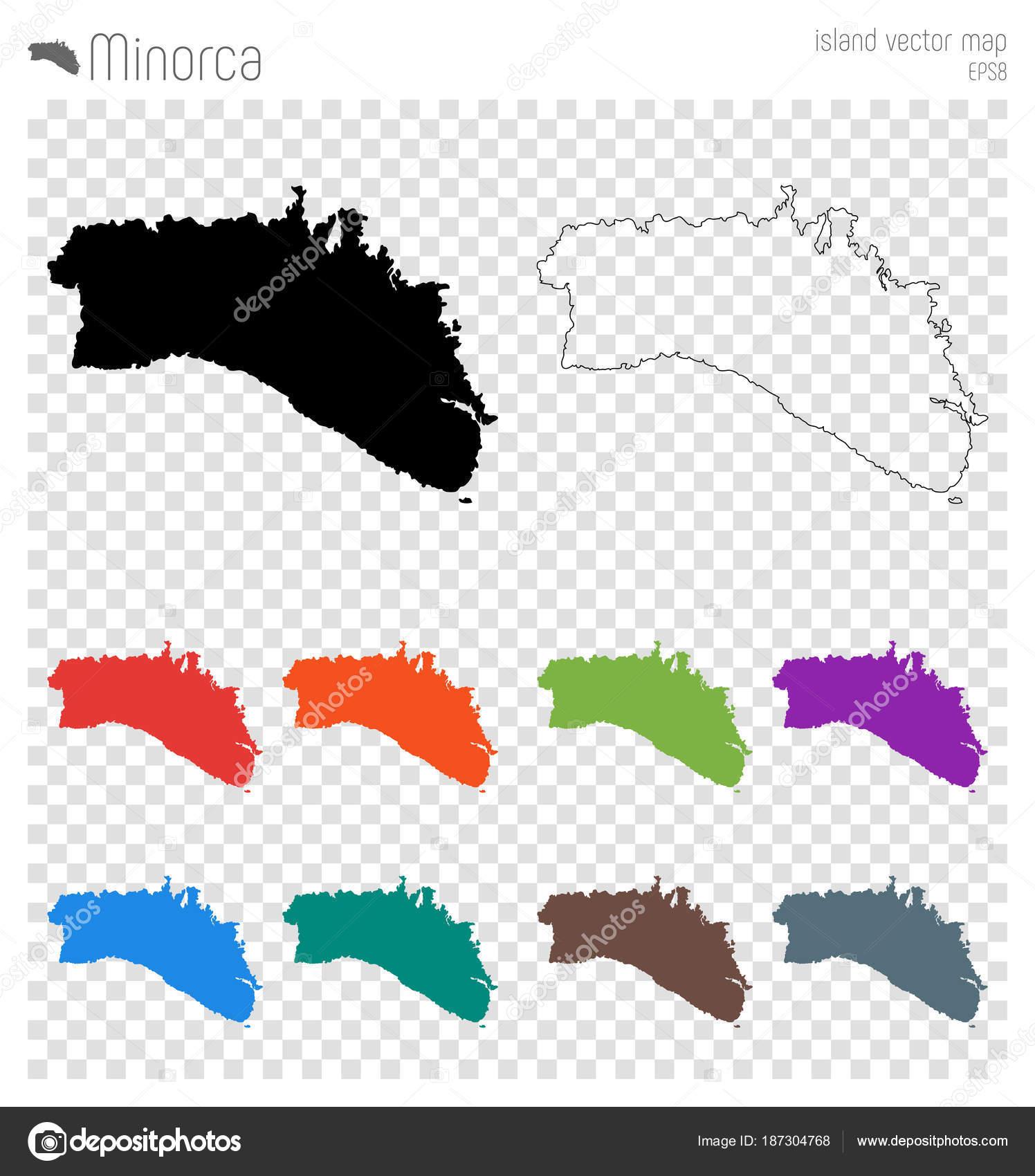 Insel Menorca Karte.Minorca Hoch Detaillierte Karte Insel Silhouette Symbol