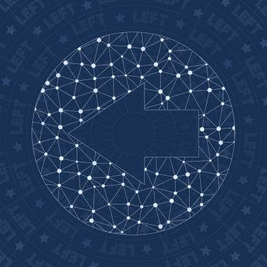 Left circled network symbol Alluring constellation style symbol Resplendent network style Modern