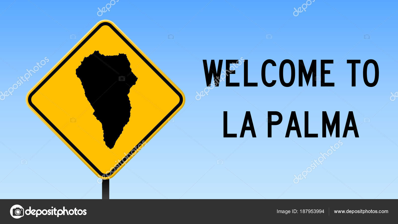 La Palma map on road sign Wide poster with La Palma island map on