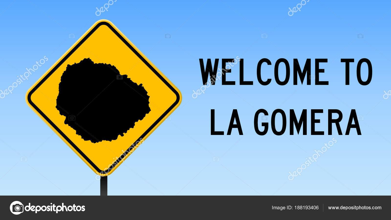 La Gomera map on road sign Wide poster with La Gomera island map on