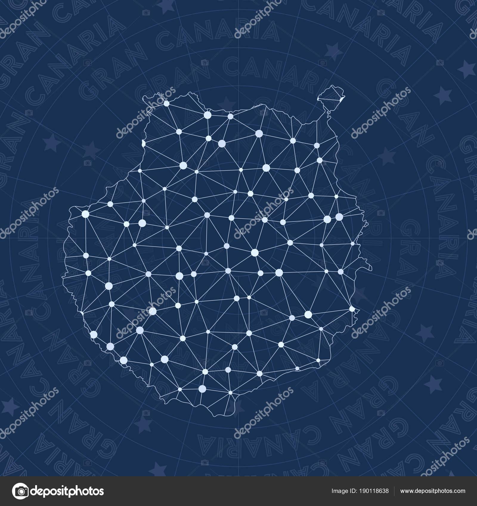 Gran Canaria Netzwerk Stil Insel Sternbildkarte populären Stil ...
