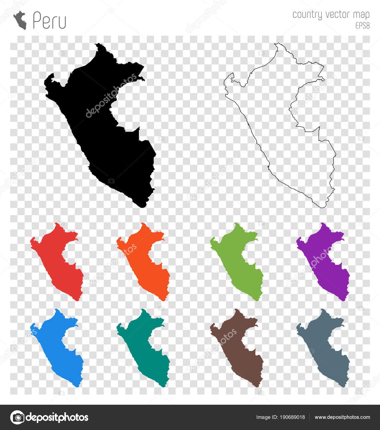 Peru Karte Umriss.Peru Hoch Detaillierte Karte Land Silhouette Symbol Isoliert