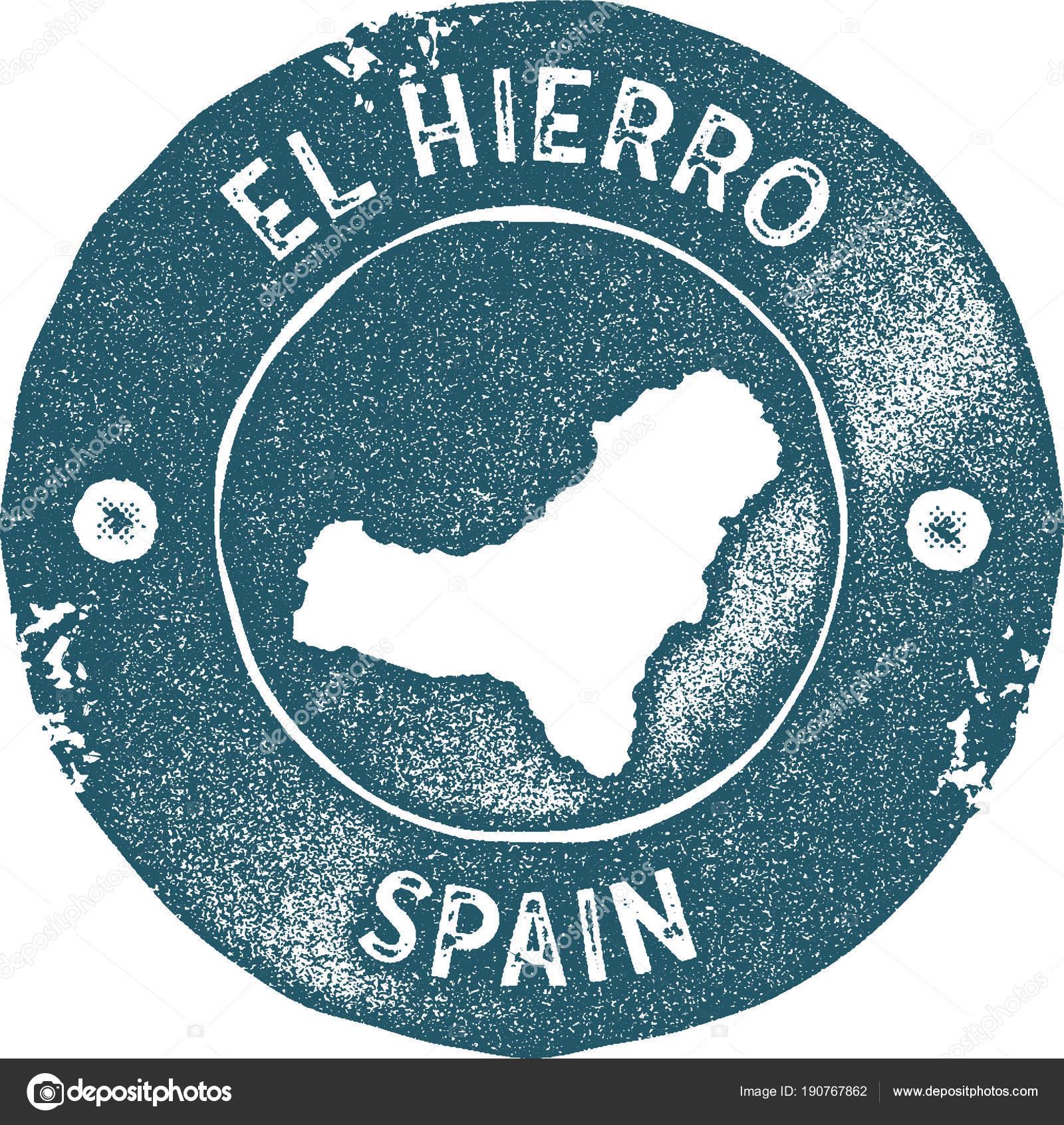 El Hierro map vintage stamp Retro style handmade label badge or