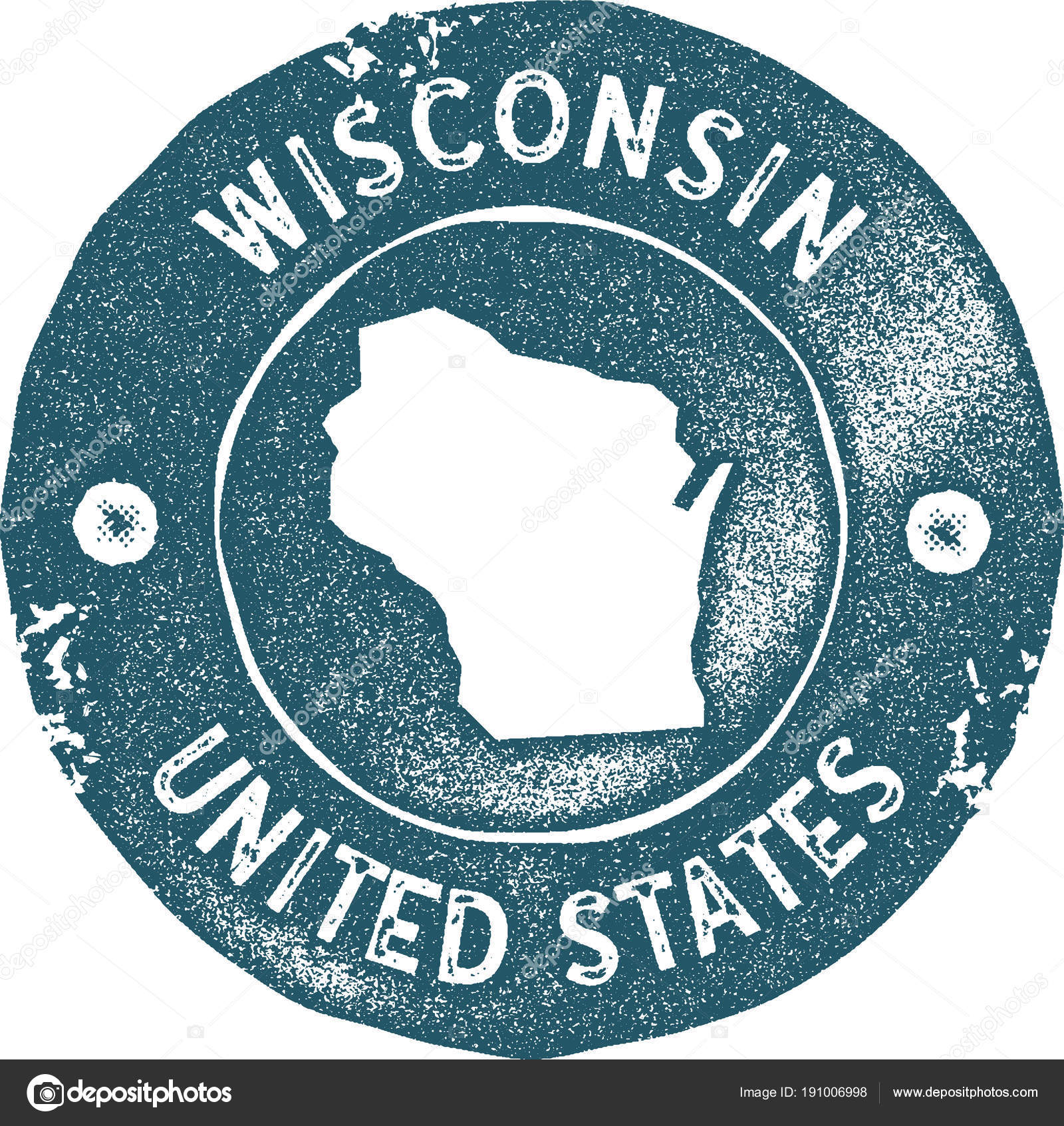 Wisconsin Map Vintage Stamp Retro Style Handmade Label Badge Or Element For Travel Souvenirs Blue