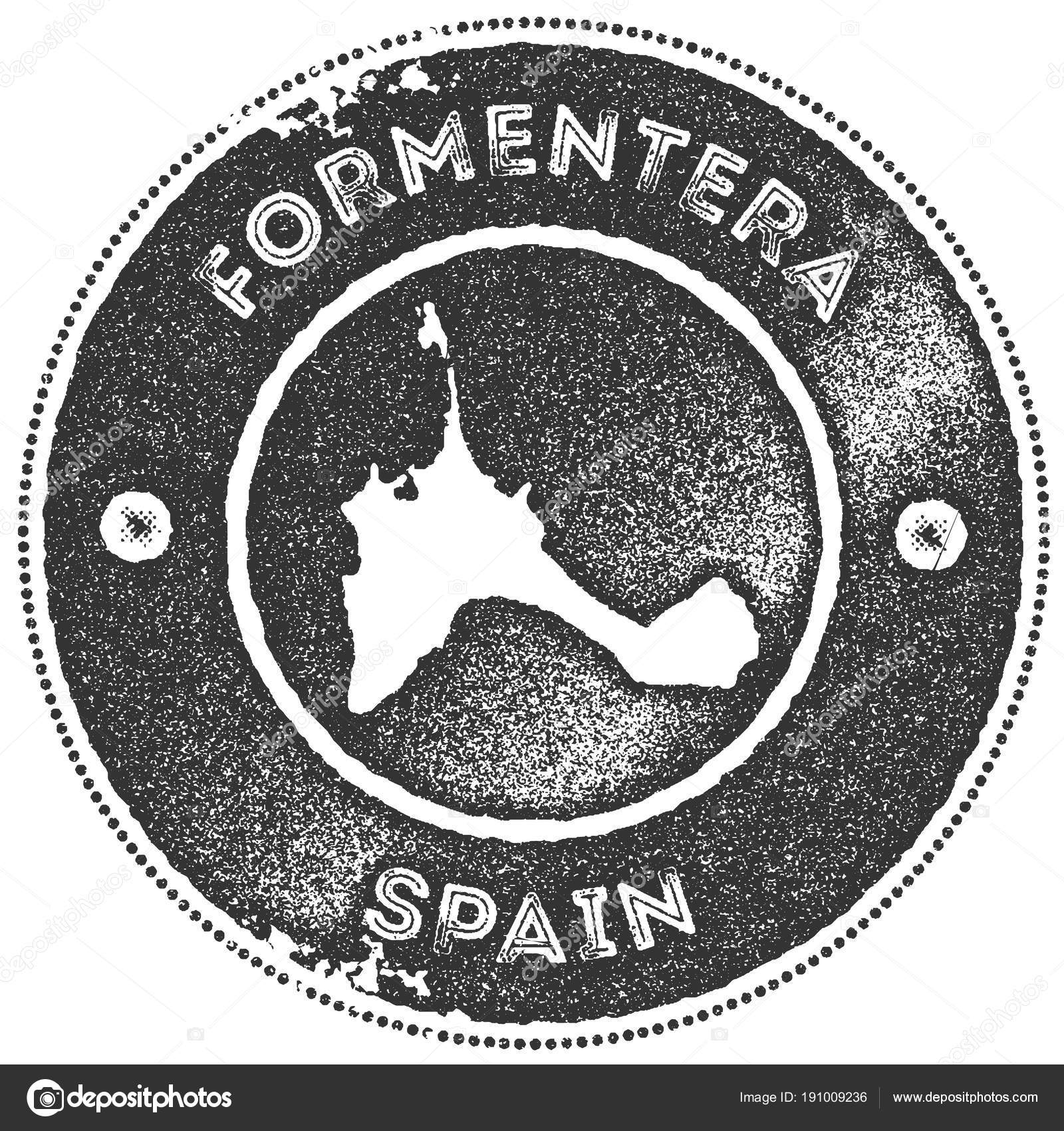 Formentera map vintage stamp Retro style handmade label badge or