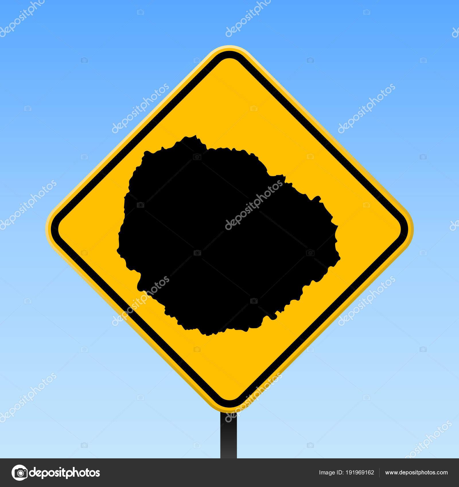 La Gomera map on road sign Square poster with La Gomera island map