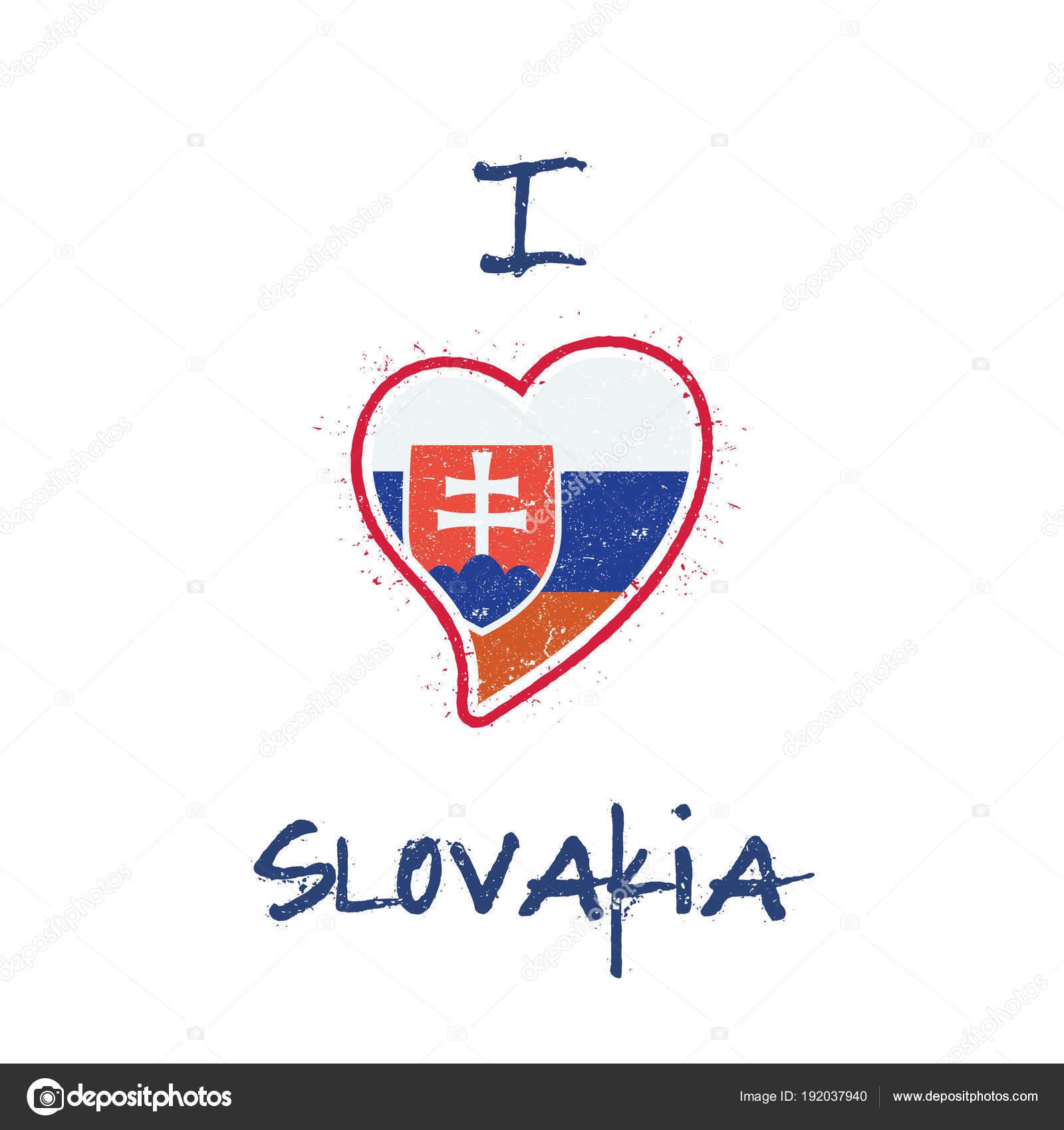 24d4a6102b3f6 Slovenská vlajka vlastenecké t-shirt design. Státní vlajka Slovensko na  bílém pozadí ve tvaru srdce. Vektorové ilustrace — Vektor od gagarych