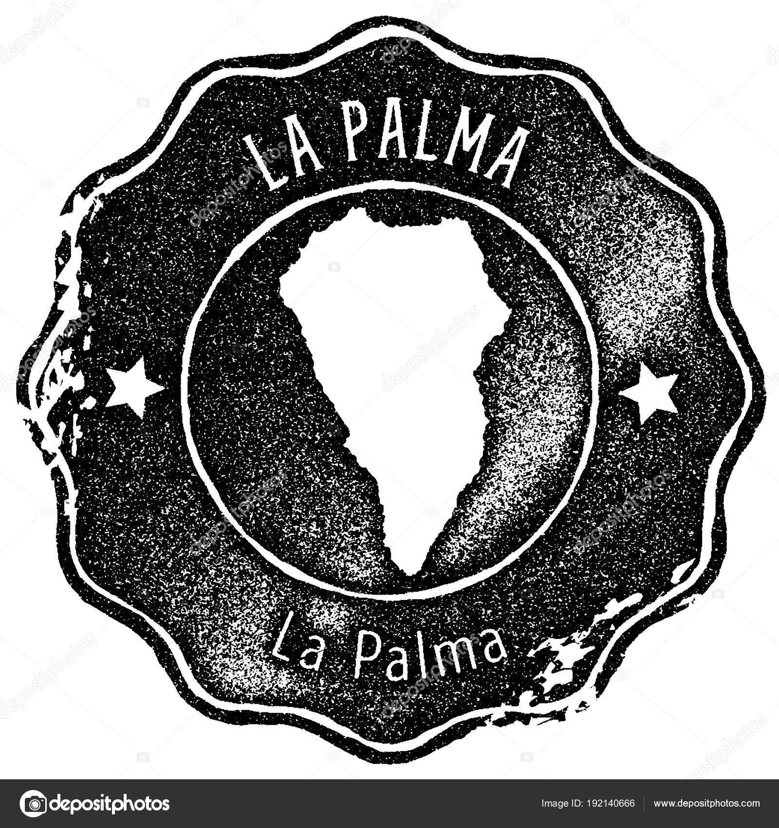 La Palma map vintage stamp Retro style handmade label badge or ...