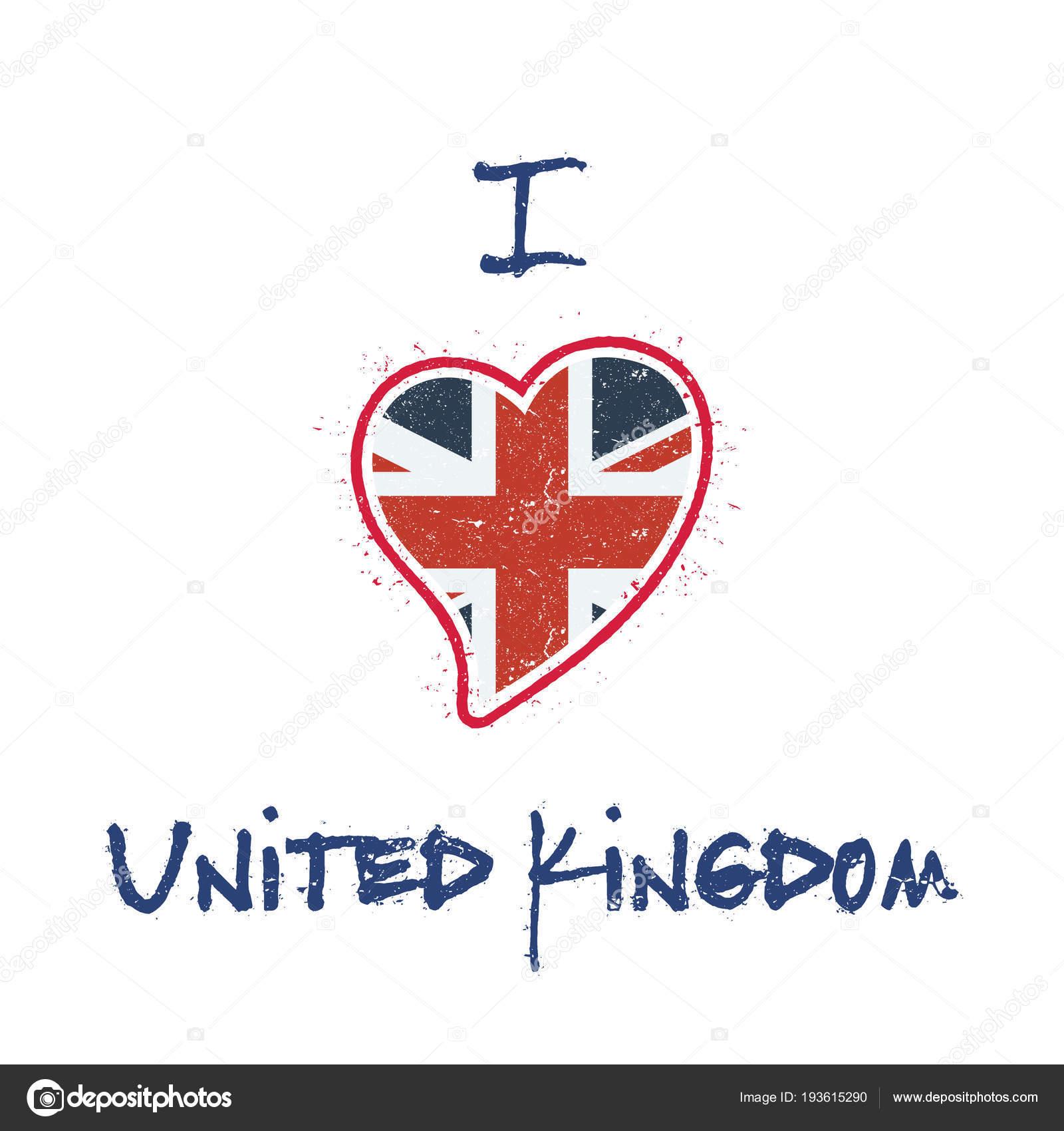 Bandera británica camiseta patriótica diseño corazón en forma de ...