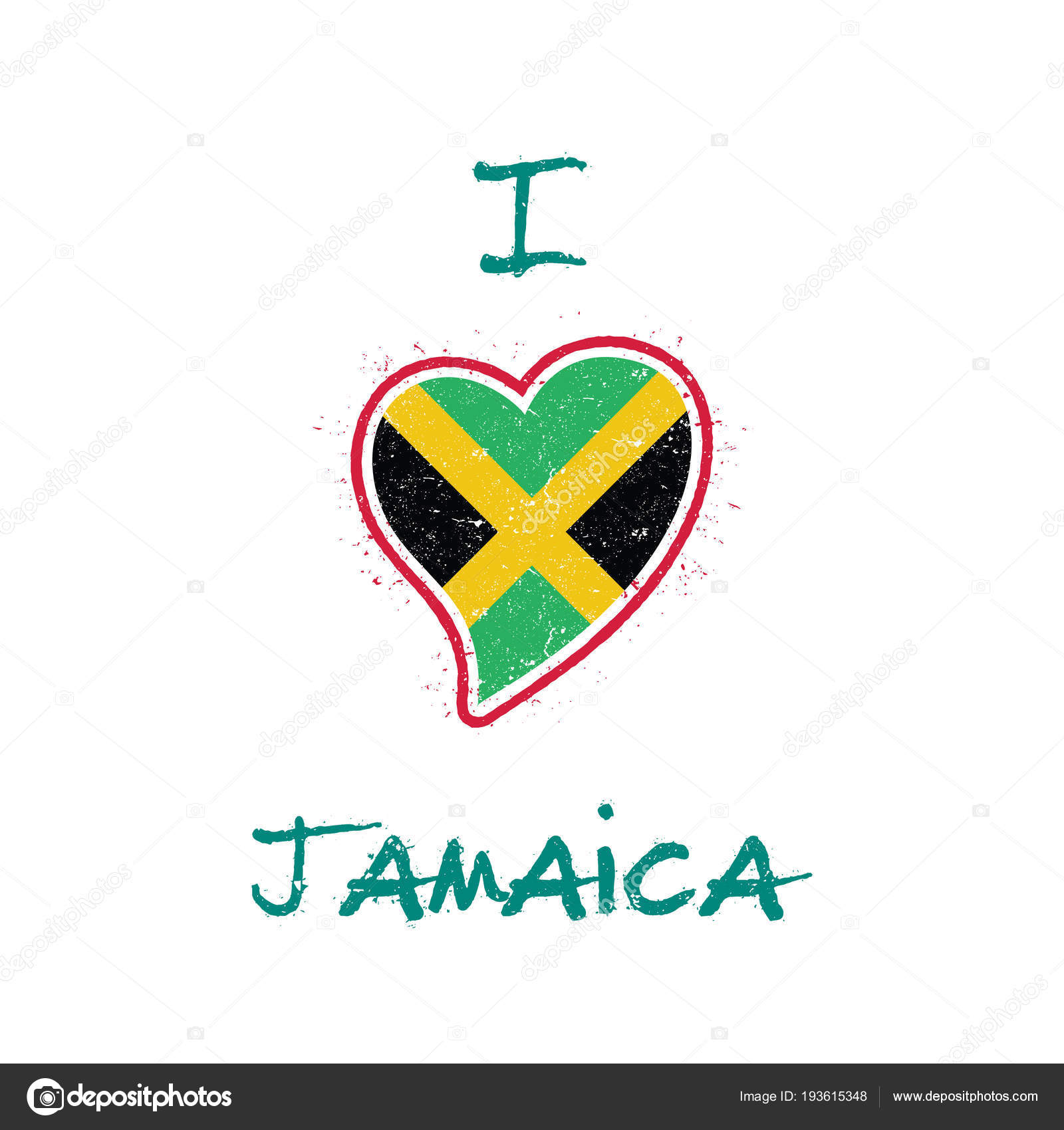 Jamaican flag patriotic tshirt design heart shaped national flag jamaica on white background stock vector